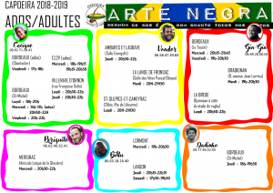 Planning cours ados adultes 2018-2019